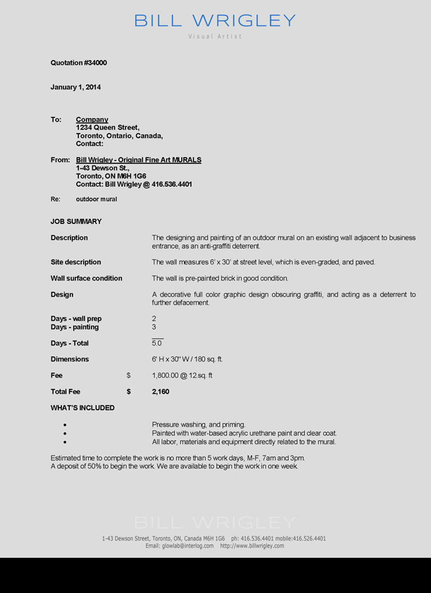 Sample invoice for writing services